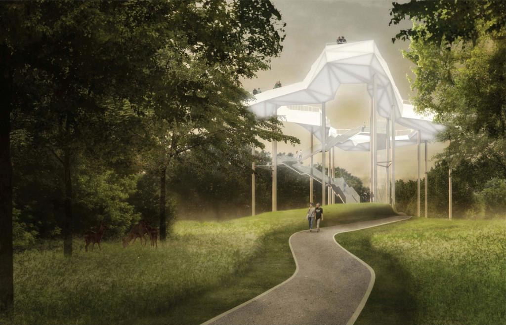 Bauarbeiten auf dem IGA-Gelände – hier der geplante Wolkenhain
