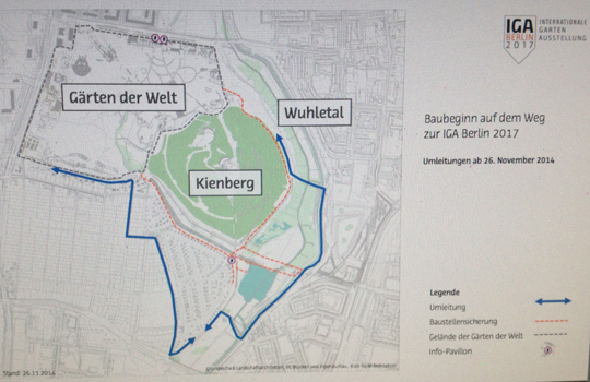 IGA Berlin 2017: Bauarbeiten am Kienberg